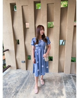 Korea Polka Dot Cross Waist Tie Dress (Blue)