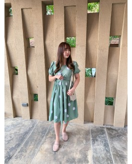 Korea Polka Dot Cross Waist Tie Dress (Green)