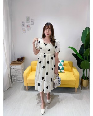 Korea Polka Dot Elastic Bust Waist Ribbon Tie Back Short Sleeve Dress (Creamy White)