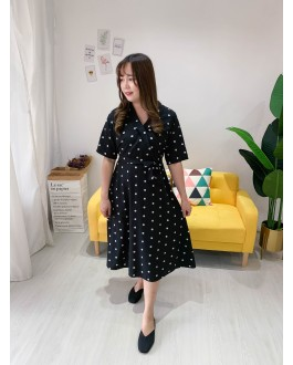 Korea Polka Dot V Collar With Ribbon Tie Dress (Black)