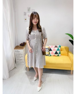 Korea Checks Button Front Self Tie Waist Dress (Creamy White)