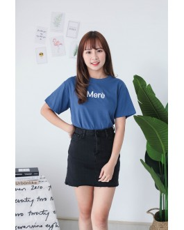 Korea Basic Elastic High Waist Denim Skirt (Black)