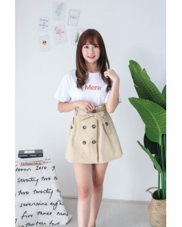 Korea Double Button A Line High Waist Skirt With Belt (Khaki)