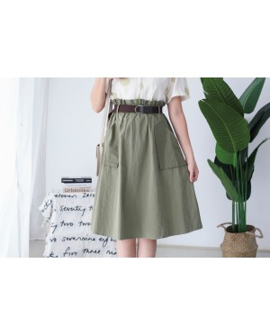 Korea Double Pocket Rubber Waist With Belt Midi Skirt (Army Green)
