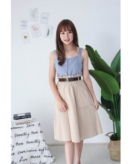 Korea Double Pocket Rubber Waist With Belt Midi Skirt (Khaki)