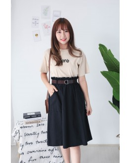 Korea Double Pocket Rubber Waist With Belt Midi Skirt (Black)