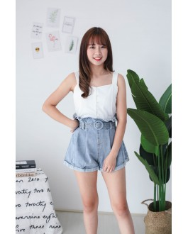 Korea Rubber Waist High Waist Denim Short Pant with Belt (Blue)