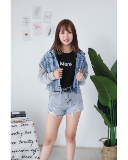 Korea Basic Ripped High Waist Denim Short Pant (Blue)