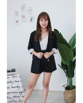 Korea Polka Dot Coat + Sleeveless Top + Rubber Short Pant 3件套 [Set] (Black)