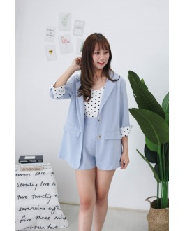 Korea Polka Dot Coat + Sleeveless Top + Rubber Short Pant 3件套 [Set] (Blue)