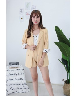 Korea Polka Dot Coat + Sleeveless Top + Rubber Short Pant 3件套 [Set] (Mustard)