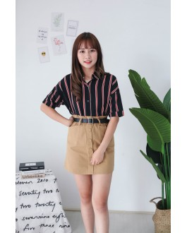 Korea Stripe Short Sleeve Blouse (Black)