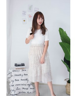 Korea Basic Knit Short Sleeve Top (White)