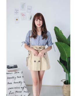 Korea Button Front V Neck Short Sleeve Top (Blue)