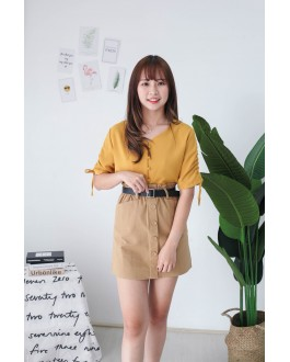 Korea Button Front V Neck Short Sleeve Top (Mustard)