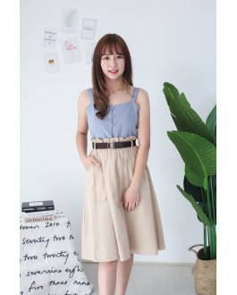 Korea Button Sleeveless Top (Blue)