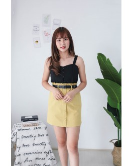 Korea Button Sleeveless Top (Black)
