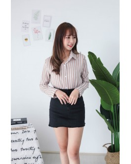 Korea Stripe Long Sleeve Blouse (Khaki)