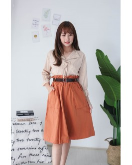 Korea Double Pocket Rubber Waist With Belt Midi Skirt (Brown)