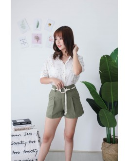 Korea High Waist Short Pant With Pocket & Rope Ring Belt (Army Green)