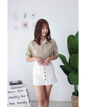 Korea Flower Chiffon Short Sleeve Blouse (Green)