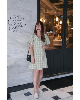 Korea Checks Square Neck Button Front & Back With Ribbon Short Sleeve Dress (Green)