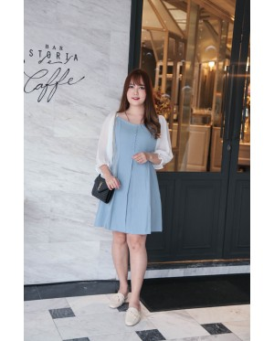 Korea Button Front V Neck Chiffon Elbow Length Sleeve Dress (Blue)