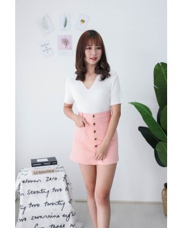 Korea Button & Double Pocket High Waist Denim Skirt (Pink)