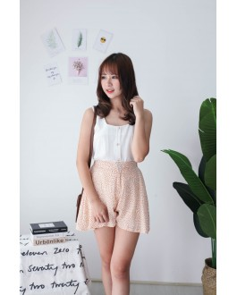 Korea Leaf Chiffon High Waist Rubber Short Pant  (Beige)