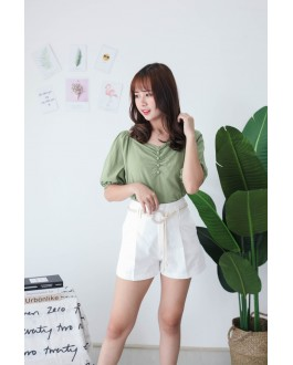 Korea V Neck Button Rubber Short Sleeve Top (Green)