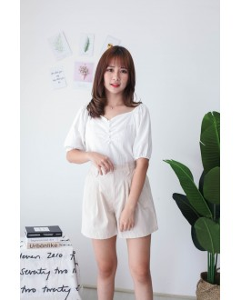 Korea V Neck Button Rubber Short Sleeve Top (White)