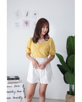 Korea V Neck Button Rubber Short Sleeve Top (Mustard)