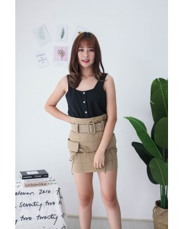 Korea Square Neck Button Adjustable Waist Sleeveless Top (Black)