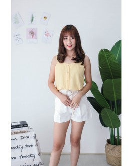 Korea Square Neck Button Adjustable Waist Sleeveless Top (Mustard)