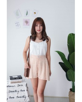 Korea Square Neck Button Adjustable Waist Sleeveless Top (White)