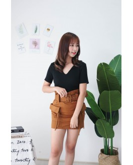 Korea Basic V Neck Collar Short Sleeve Top (Black)