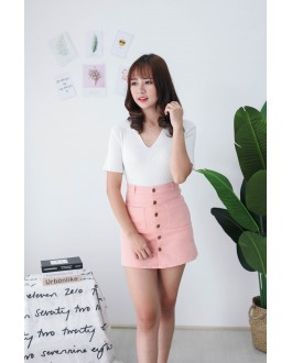 Korea Basic V Neck Collar Short Sleeve Top (White)