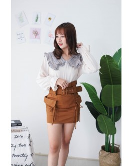 Korea Checks Collar Long Sleeve Blouse (Beige)