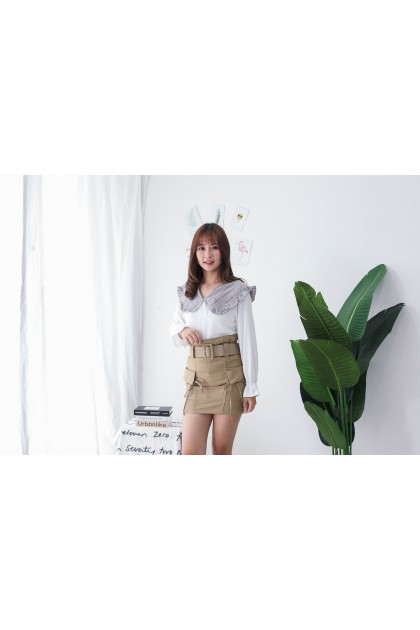Korea Checks Collar Long Sleeve Blouse (White)