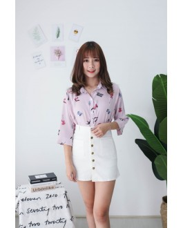 Korea Cute Guitar Short Sleeve Blouse (Pink)