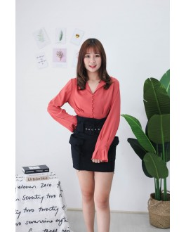 Korea V Neck Button Long Sleeve Blouse (Brick)