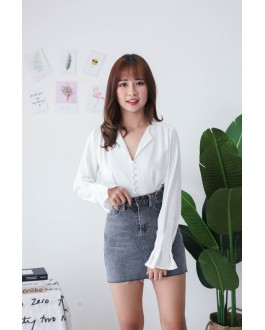 Korea V Neck Button Long Sleeve Blouse (White)