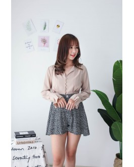 Korea V Neck Button Long Sleeve Blouse (Khaki)