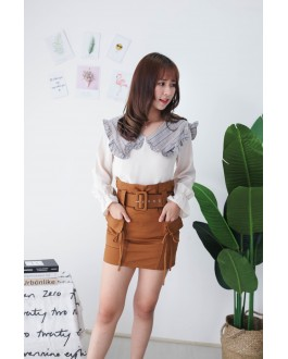 Korea Double Pocket High Waist Skirt With Belt (Brown)