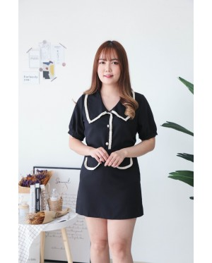 Korea Chanel Short Sleeve Top + Chanel Pocket A Line High Waist Skirt [Set] (Black)