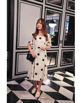 Korea Vintage Style Polka Dot Square Neck Ribbon Tie Back Short Sleeve Dress (Creamy White)
