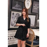Korea Bling Star V Neck Chiffon Self Tie Dress (Black)