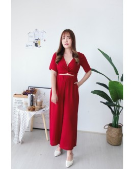 Korea Self Tie Top + Rubber Culottes [Set] (Maroon)