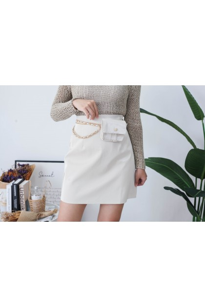 Korea Basic Leather High Waist Skirt With Chain Belt Bag (Creamy White)