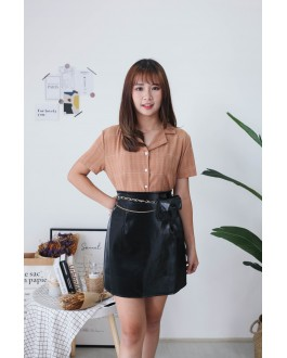 Korea Basic Leather High Waist Skirt With Chain Belt Bag (Black)
